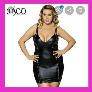 Sexy Faux Leather Zippered Mini Dress